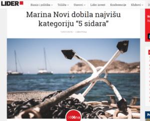"""LIDER Marina Novi dobila najvišu kategoriju """"5 sidara"""""""