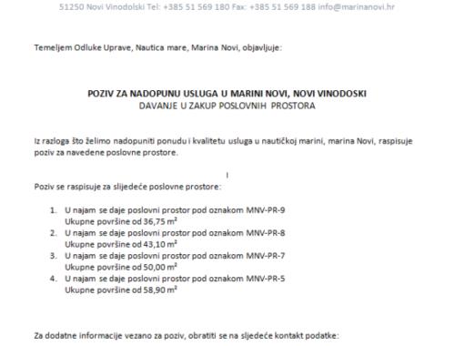 Poziv za nadopunu usluga Marina Novi, Novi Vinodolski! Davanje u zakup poslovnih prostora